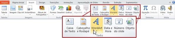 Guia Inserir no PowerPoint 2010, com o botão de WordArt realçado.