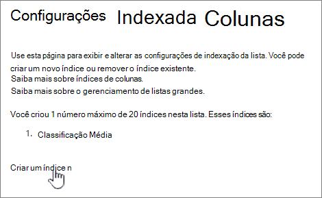 Página colunas indexadas com criar um novo índice realçado