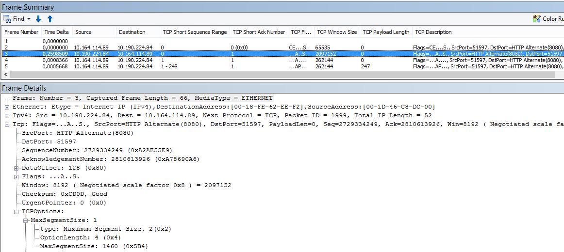Rastreamento de rede filtrado no Netmon usando as colunas internas.