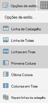 Opções de estilo de tabela do email para Windows 10