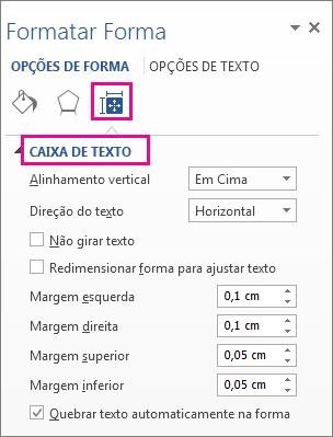 Opções de caixa de texto no painel Formatar Forma