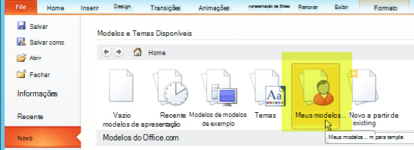 Na guia arquivos da faixa de opções, selecione Novo e selecione o botão de Meus modelos.