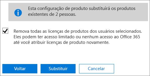 Marque a caixa de seleção para remover todas as licenças de contas de usuários selecionados.