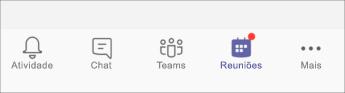 botão reuniões-captura de tela móvel