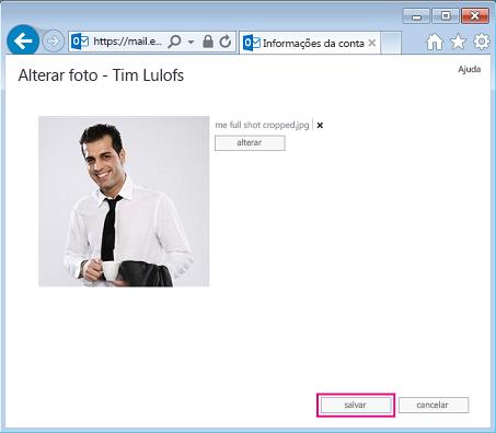 Captura de tela da caixa diálogo Alterar Imagem com a opção Salvar realçada