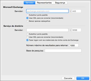 Configurações do servidor de conta do Exchange