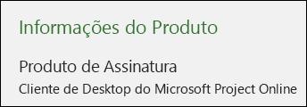 Informações do Projeto do Cliente de Desktop do Project Online