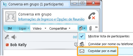 Convidar por email