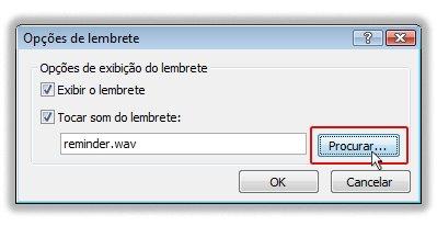 Caixa de diálogo Opções de Lembrete