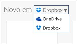 Imagem mostrando o Dropbox adicionado aos locais onde você pode criar novos arquivos no Office Online
