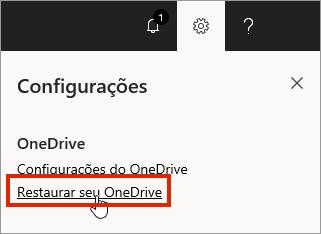 Menu de configurações do OneDrive for Business online com o recurso Restaurar realçado