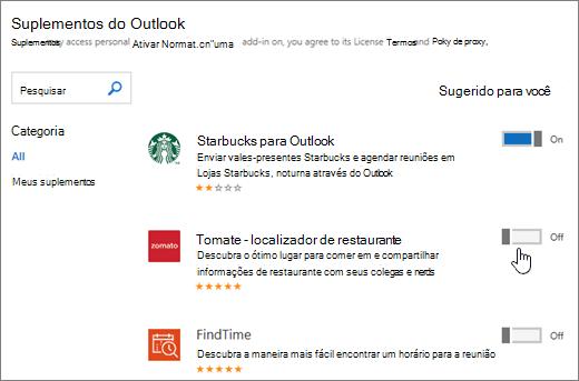 Captura de tela de suplementos página do Outlook onde você pode ver suplementos instalados, pesquise e selecione mais suplementos.