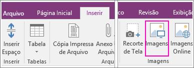 Captura de tela do botão Inserir Imagens no OneNote 2016.