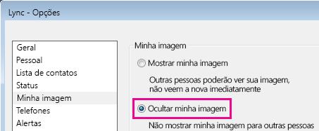 Captura de tela da seção da caixa de diálogo de opções Minha Imagem mostrando a opção Ocultar minha imagem selecionada