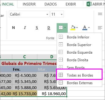 adicionar uma borda a uma tabela ou intervalo de dados