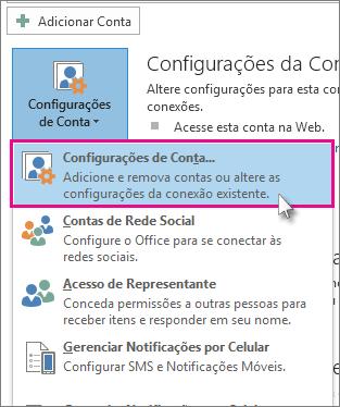 Configurações da Conta