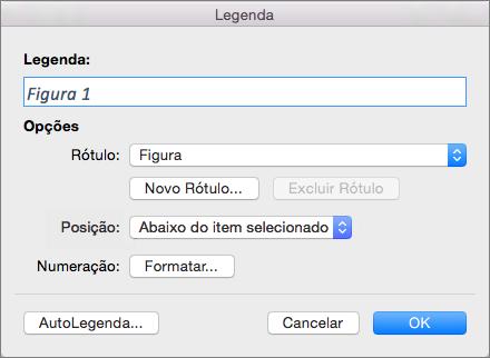Criar legendas para figuras, tabelas ou outros objetos com a caixa de diálogo de legenda
