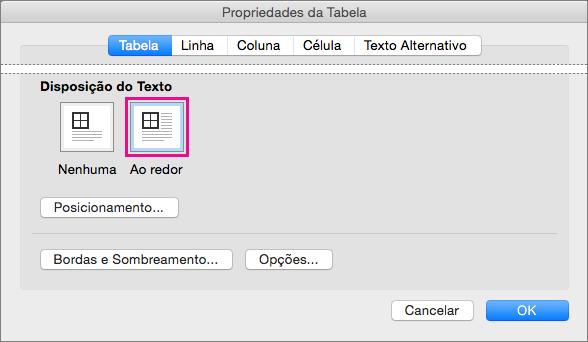 Clique Ao Redor para que o texto quebre automaticamente ao redor da tabela.
