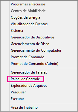 Painel de Controle do Office 2016 no Windows 8