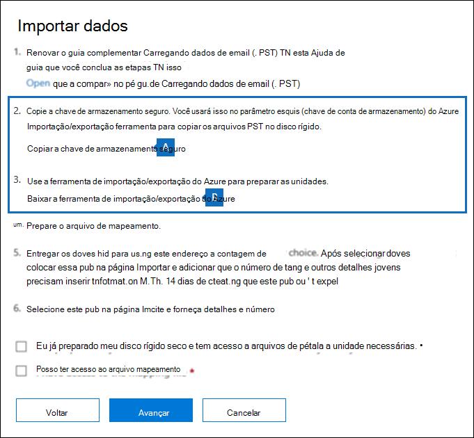 Copie a chave de armazenamento seguro e baixar a ferramenta Azure importar exportar na página Importar dados