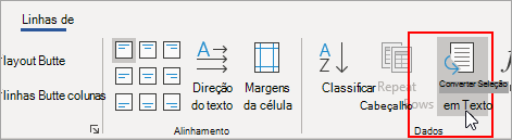 A opção Converter em Texto é realçada na guia Layout de Ferramentas de Tabela.