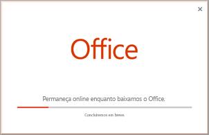 Progresso da instalação do aplicativo do Office