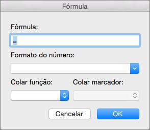 Adicionar e modificar as fórmulas na caixa de diálogo Fórmula.