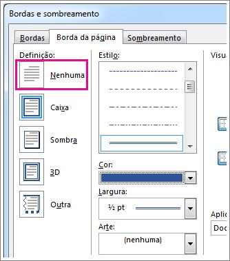 Caixa de diálogo das configurações de borda de página