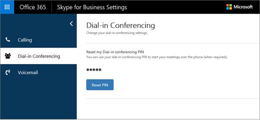 Página de configurações de conferência discada