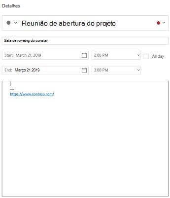 Modo de exibição detalhes do evento do calendário para Windows 10
