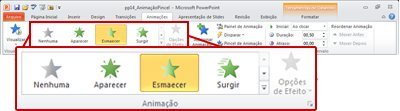 Guia Animações na faixa de opções do PowerPoint 2010