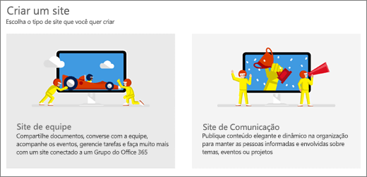 Opção de dois modelos de nível superior, sites de equipe ou de comunicação.