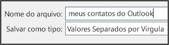 Atribua um nome ao seu arquivo de contatos.