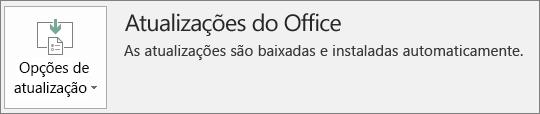Captura de tela de atualizações do Office na conta do aplicativo do Office