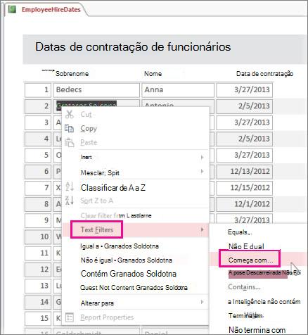Aplicando um filtro em um relatório clicando com o botão direito do mouse em um valor na Modo Relatório.