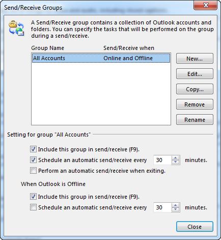 A caixa de diálogo Configurações de Envio/Recebimento