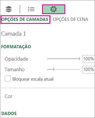 Ícone Configurações na guia Opções de Camada