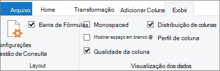 Opções de criação de perfil de dados na guia Exibir da faixa de opções do editor do Power Query