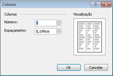 Caixa de diálogo Colunas de Ferramentas de Caixa de Texto para o Publisher 2010