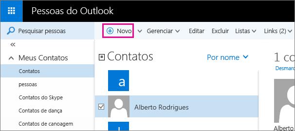 """Captura de tela da barra de ferramentas na página Pessoas do Outlook com um balão para o comando """"Novo""""."""