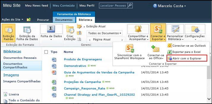 Pasta dos documentos compartilhados do SharePoint 2010, opção Abrir com Explorer