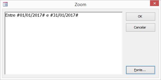 uma expressão na caixa de diálogo zoom.