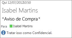 Email marcado como Confidencial