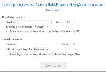 Inserir as informações de seu servidor de email