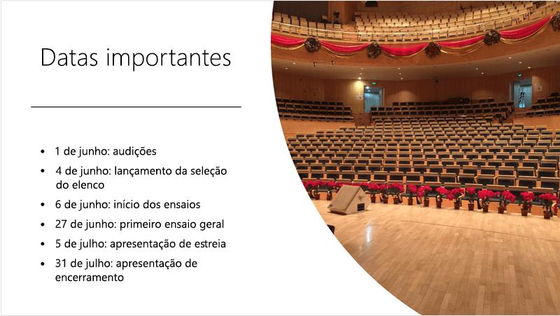 Slide de exemplo mostrando uma linha do tempo de texto e uma foto organizados e dispostos pelo Designer do PowerPoint