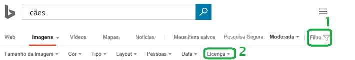 Clique no botão de filtro na margem direita da janela e, em seguida, clique no menu do filtro de licença.