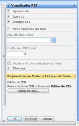 Painel de ferramentas do Visualizador RSS