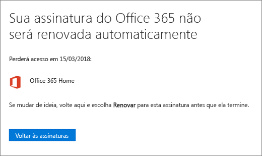 Captura de tela da página de confirmação quando você cancela uma assinatura do Office 365 para uso doméstico.