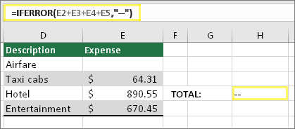 """Célula H4 com a fórmula =SEERRO(E2+E3+E4+E5;""""--"""")"""