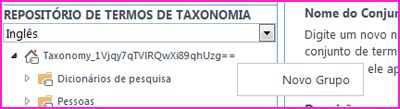 Captura de tela do painel de navegação na ferramenta de gerenciamento de Repositório de Termos, mostrando o item de menu Novo Grupo selecionado